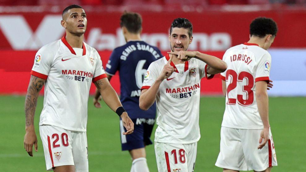 Dedicatoria de Escudero (31) tras marcarle al Celta de Vigo.