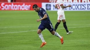 Nolito celebra el tanto que marcó ante el Sevilla.