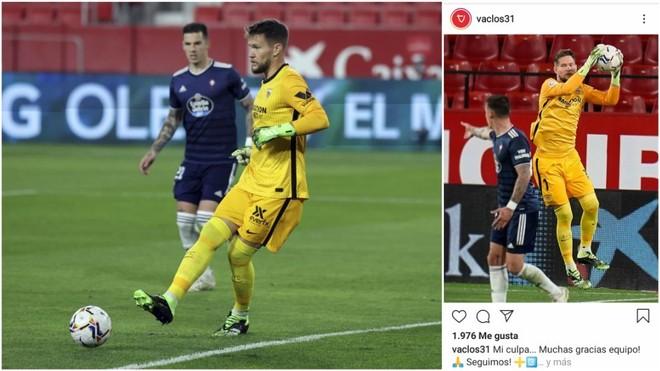 """Vaclik pide perdón por su error en el gol de Aspas: """"Mi culpa"""""""