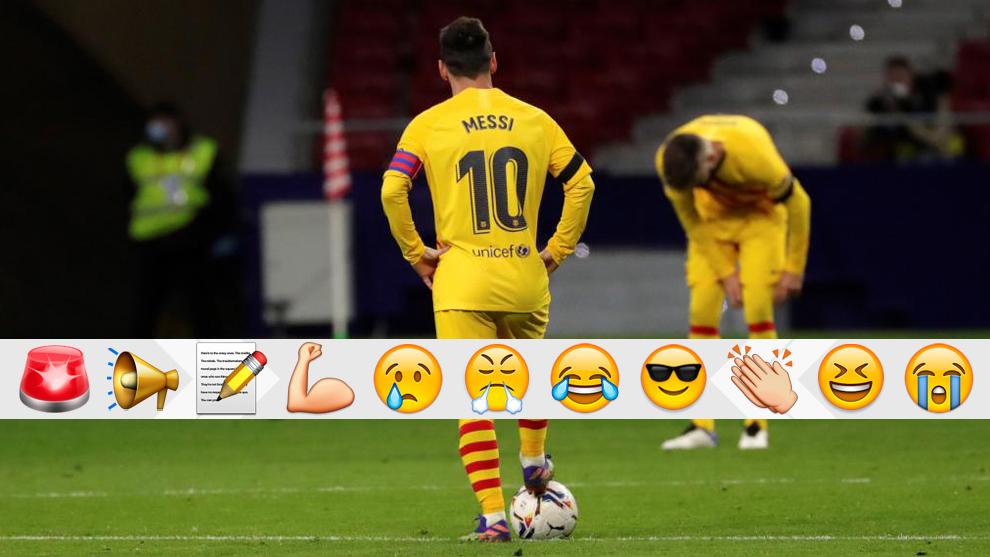 Messi, en el partido Atlético-Barcelona