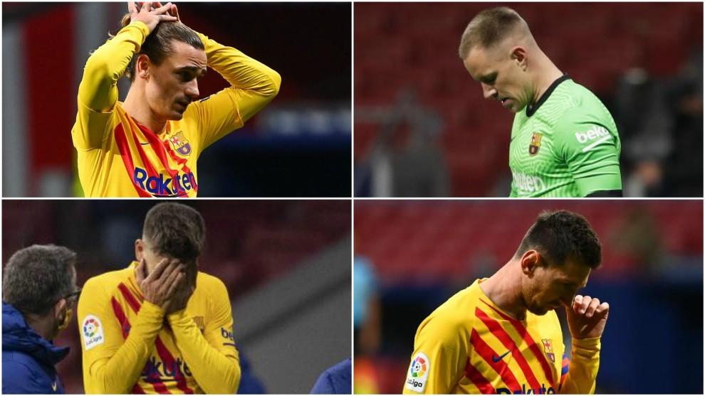 Griezmann, Ter stegen, Piqué y Messi.