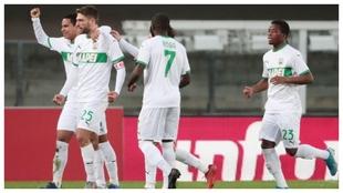 Domenico Berardi celebra el 0-2 del Sassuolo contra el Hellas Verona.