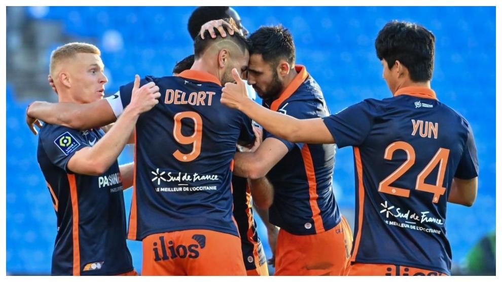 Andy Delort celebra un gol contra el Estrasburgo.
