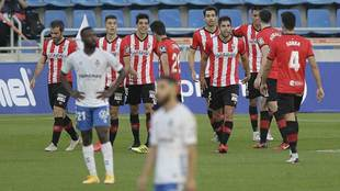 Los jugadores del Logroñés celebran el gol de David González en el...