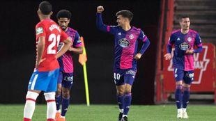 Jota celebra el 1-3 que dio la victoria al Real Valladolid frente al...