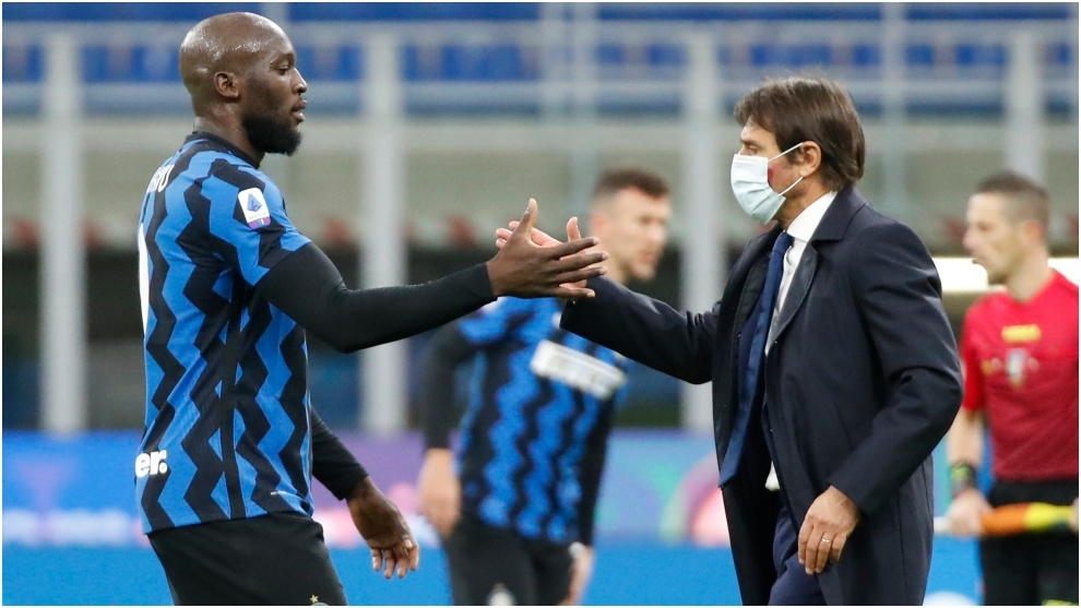 Romelu Lukaku and Antonio Conte.