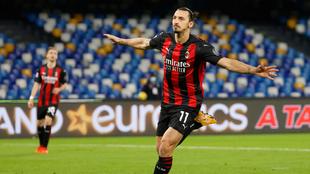 Zlatan Ibrahimovic anotó doblete para el Milan en la casa del Napoli....