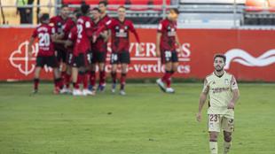 Gol del Mirandés en el partido de LaLiga SmartBank entre el Mirandés...