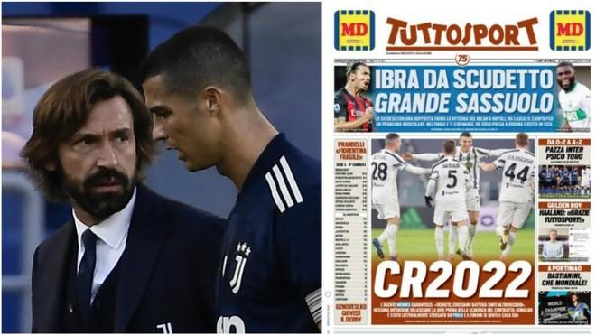 Andrea Pirlo junto a Cristiano Ronaldo.