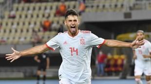 Hugo Duro celebra el gol que logró ante Macedonia del Norte con la...