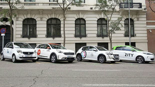 Coches compartidos de Car2Go, Wible, Free2Move y Zity.