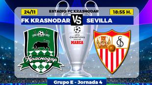Krasnodar - Sevilla: horario, canal y donde ver hoy por TV el partido...