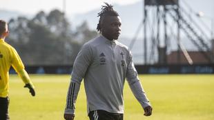 El ghanés, durante la sesión de entrenamiento de hoy.