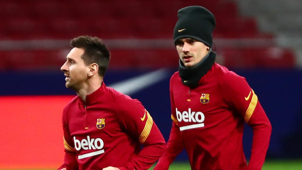 Lionel Messi y Antoine Griezmann en el Barcelona.