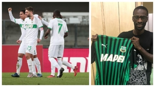 Berardi celebra un gol al Verona y Pedro Obiang posa con la camiseta...