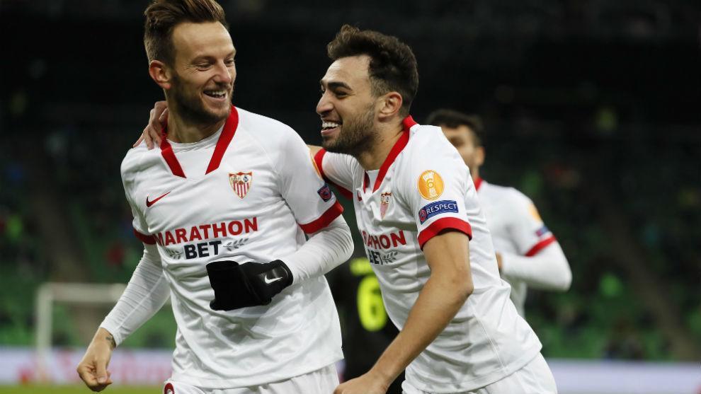 Rakitic (32) y Munir (25), autores de los goles frente al Krasnodar.