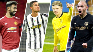 Bruno Fernandes, Cristiano Ronaldo, Erling Haaland y Martin...