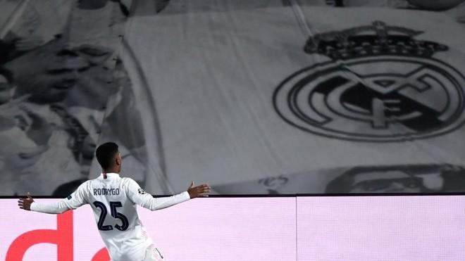 Rodrygo celebra el gol logrado ante el Inter en Valdebeas en el...