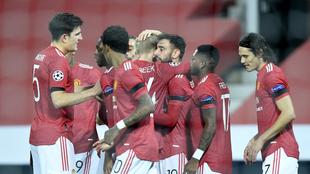 Festejo del Manchester United ante el Istambul.