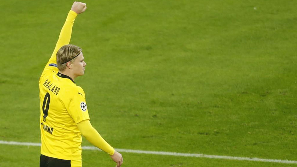 Erling Haland celebra un gol en Champions