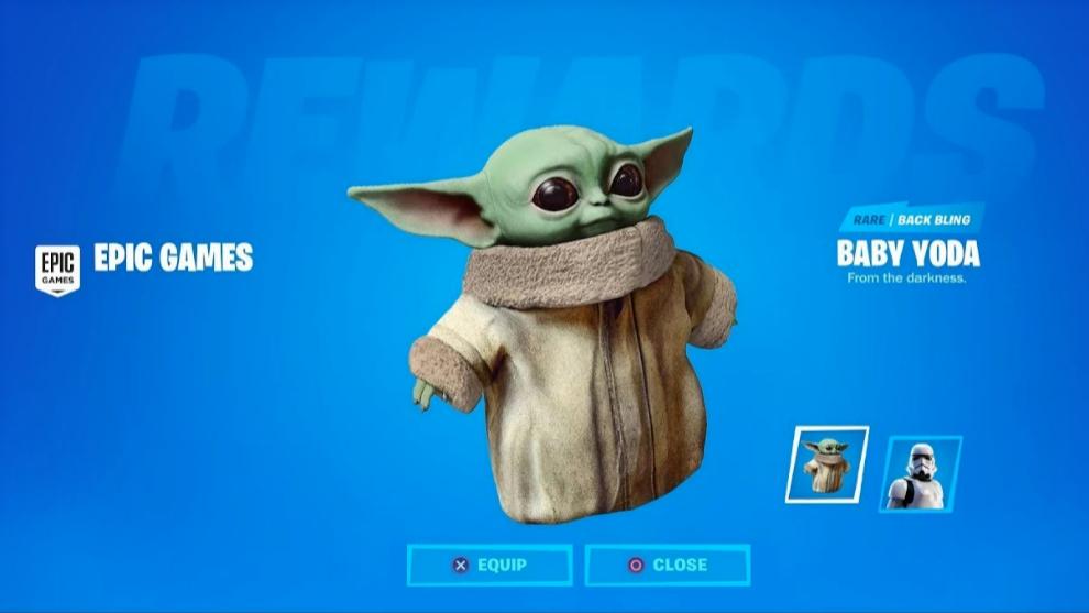 Baby Yoda aterriza en Fortine con forma de cosmético.