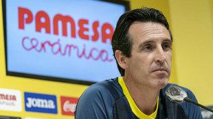 Unai Emery en una comparecencia pública con el Villarreal.