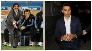 A la izquierda, Maradona como seleccionador. A la derecha, Gustavo...