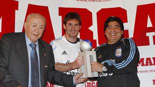 Di Stéfano, Messi y Maradona en un acto de MARCA en 2009