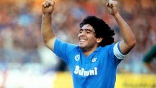 Diego Armando Maradona, leyenda con el Napoli de la Serie A. |