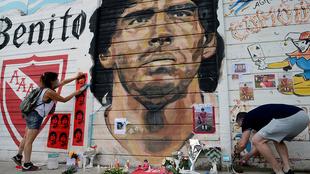 Dibujo de Maradona en Argentina