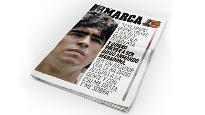 MARCA's front page tribute to Maradona.