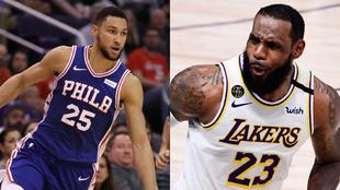 Montaje con Ben Simmons, de los Philadelphia 76ers, y LeBron James,...