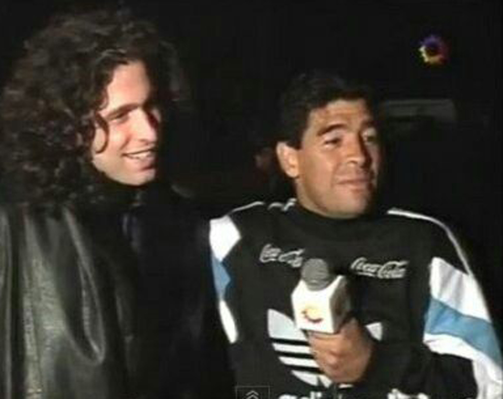 Andrés Calamaro y Diego Maradona en 1994