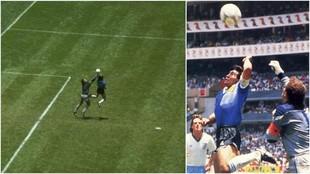 Maradona marca con la mano ante Peter Shilton en el Mundial de...