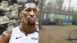 Montaje de Bam Adebayo con el trailer donde vivió en Carolina del Sur