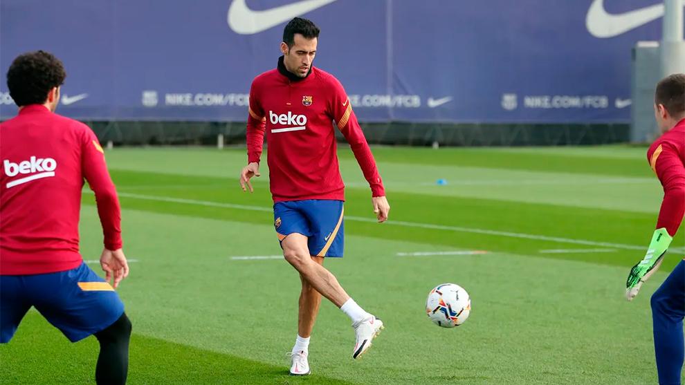 Sergio Busquets, en el entrenamiento del jueves.