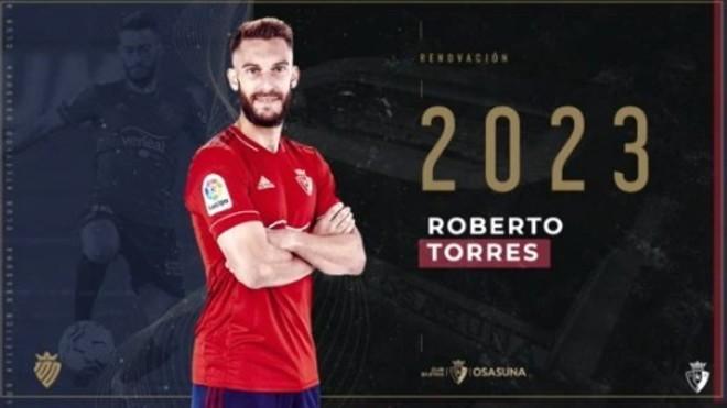 Roberto Torres renueva con Osasuna hasta 2023