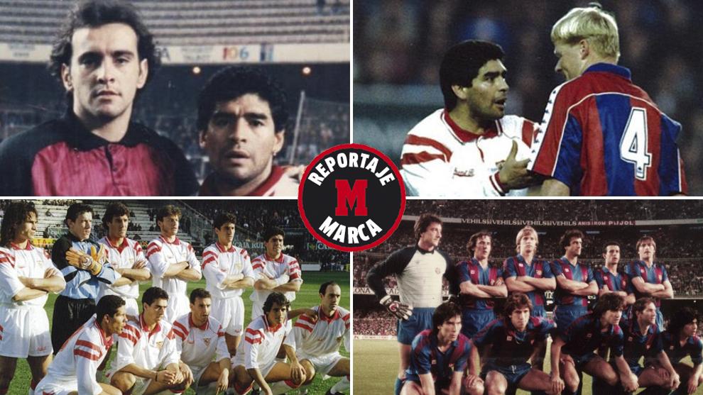 Maradona, con Monchi. Koeman y en dos onces con Sevilla y Barça