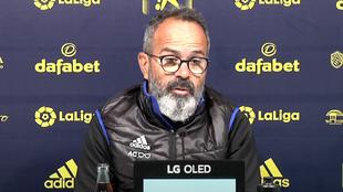 El entrenador del Cádiz, durante la rueda de prensa de hoy.