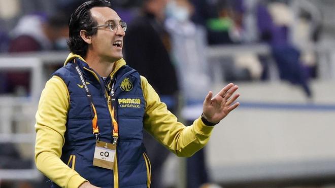 Unai Emery, durante el partido contra el Maccabi.