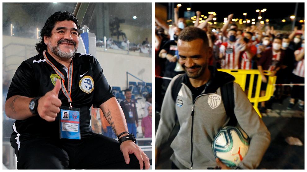 Diego Maradona / Juanfran tras conseguir la permanencia del Lugo ante...