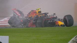 Alex Albon, tras su accidente en los Libres 2 del GP de Bahréin.