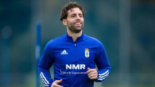 Rodri Ríos, durante un entrenamiento con el Oviedo.