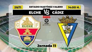 Elche - Cádiz   28 de noviembre a las 14.00 horas