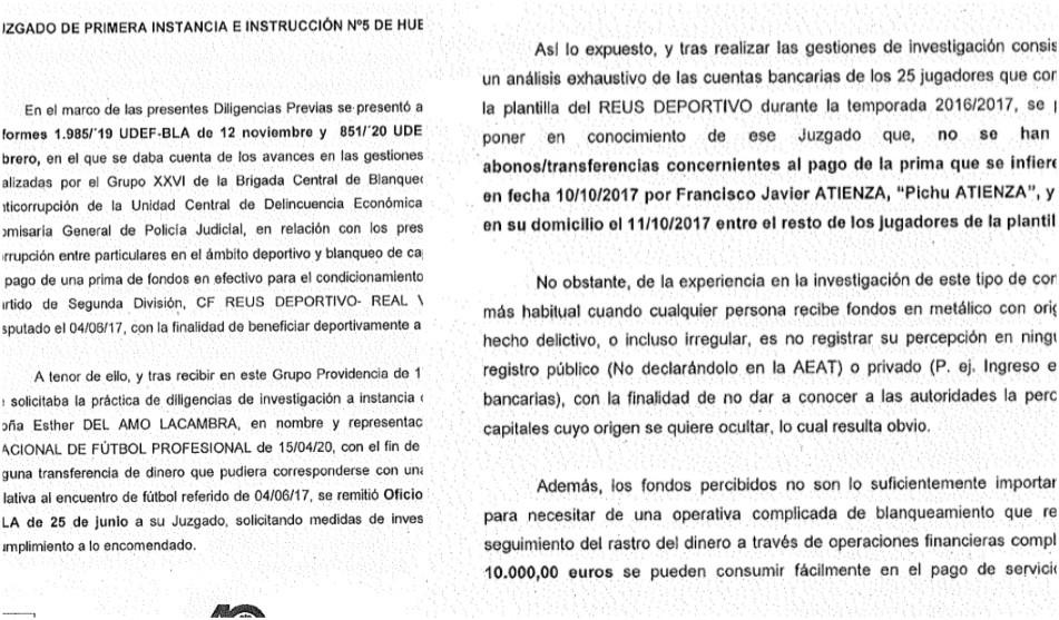 La Policía no encuentra  pruebas sobre las primas a terceros en el Reus-Valladolid