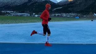 Kilian Jornet, durante el intento de récord.
