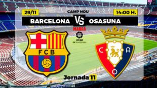 Barcelona - Osasuna: horario y dónde ver por TV el partido de Liga