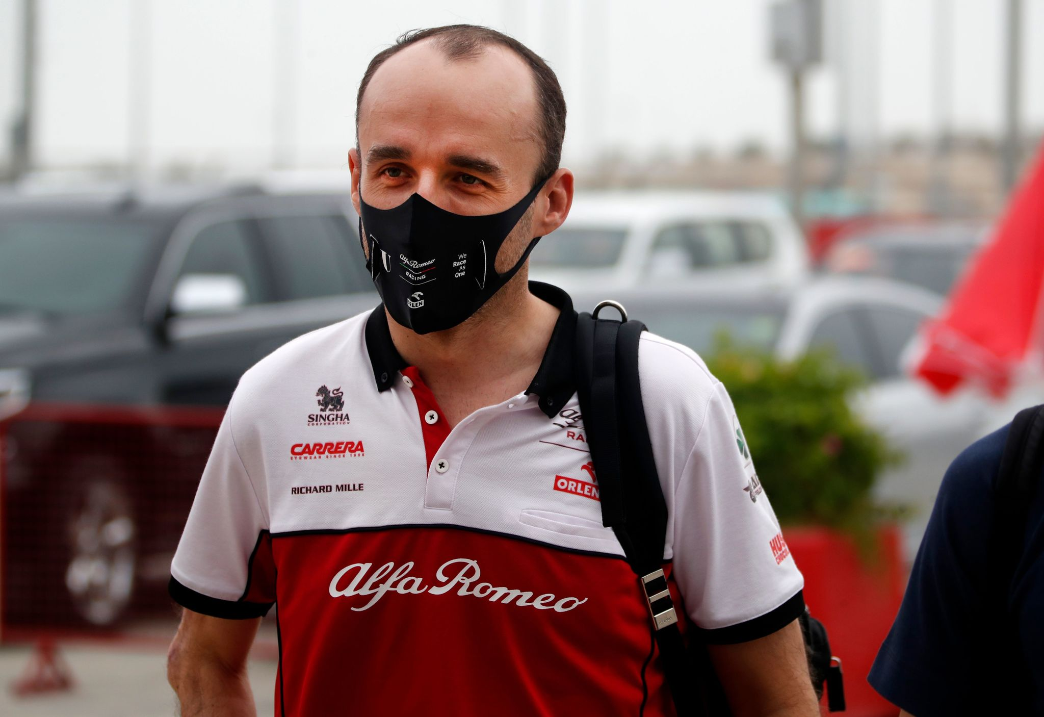 Alfa Romeos Polish reserve driver Robert lt;HIT gt;Kubica lt;/HIT gt; arrives for the first practice session ahead of the Bahrain Formula One Grand Prix at the Bahrain International Circuit in the city of Sakhir on November 27, 2020. (Photo by HAMAD I MOHAMMED / POOL / AFP)