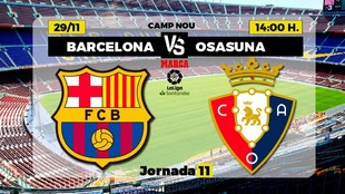 El Barcelona recibe a Osasuna a las 14:00 horas en el Camp Nou