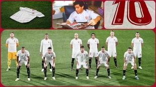 Imagen de los jugadores del Sevilla con la camiseta de Maradona.